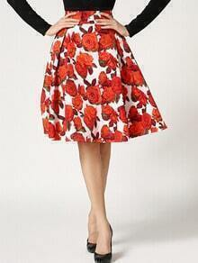 Red White Floral Flare Skirt