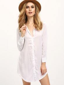 White Lapel Long Sleeve Buttons Loose Blouse