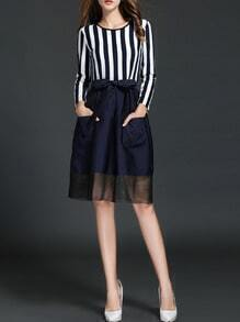 Navy White Vertical Stripe Bow Dress