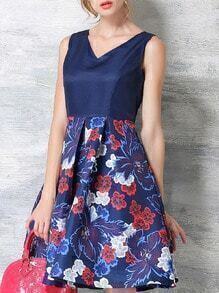 Blue V Neck Sleeveless Floral Flare Dress
