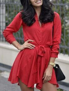 Red Long Sleeve Tie-Waist Dress