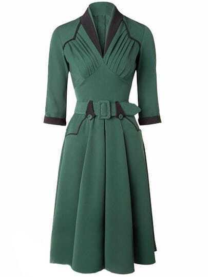 Green Stand Collar Ruched Belt Dress