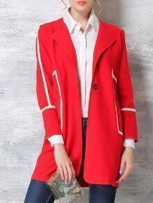 Red Long Sleeve Single Button Pockets Coat