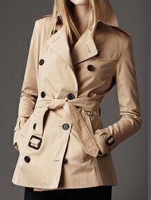 Khaki Long Sleeve Double Breasted Coat