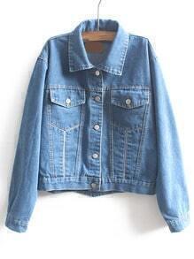 Blue Lapel Long Sleeve Pockets Crop Denim Coat