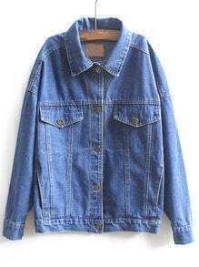 Blue Lapel Long Sleeve Buttons Denim Coat