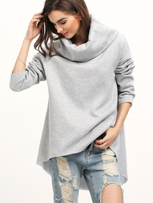 Cowl Neck Dip Hem Loose Sweatshirt