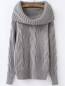 Grey High Neck Cable Knit Loose Sweater