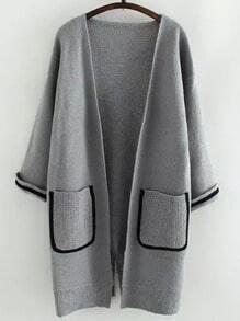 Grey Long Sleeve Pockets Contrast Trims Sweater Coat