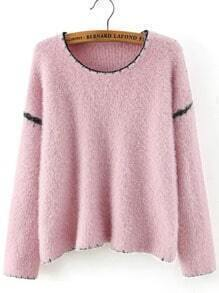 Pink Round Neck Shaggy Loose Sweater
