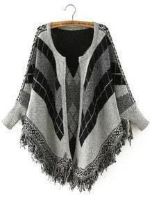 Black Grey Long Sleeve Geometric Print Tassel Cardigan