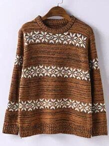 Khaki Round Neck Snowflake Print Sweater