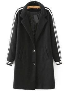 Black Notch Lapel Airplane Print Coat