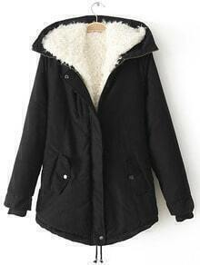 Black Hooded Long Sleeve Zipper Coat