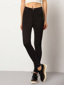 Black Slim Split Denim Pant