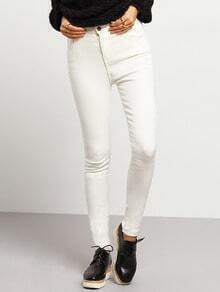 White Slim Buttons Pant