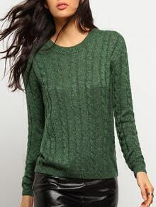 Green Round Neck Cable Knit Slim Sweater