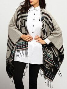 Grey Tribal Print Tassel Loose Cape