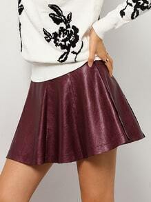 Burgundy High Waist Flare PU Skirt