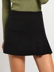 Black Slim Ruched Skirt