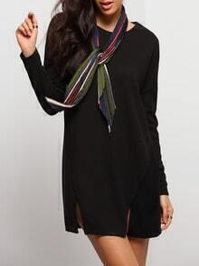 Black Round Neck Split Woolen Dress