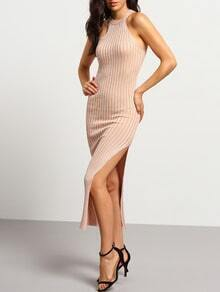 Apricot Sleeveless Split Striped Slim Dress