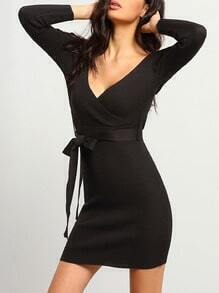 Black V Neck Tie-Waist Bodycon Dress