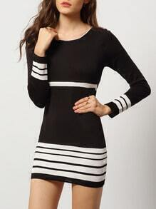 Black White Round Neck Striped Bodycon Dress