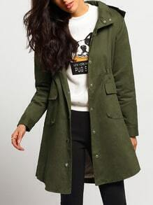 Army Green Hooded Single Breasted Coat