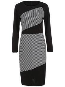 Black White Round Neck Striped Pencil Dress