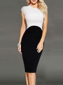 Colour-block Cap Sleeve Slim Pencil Dress