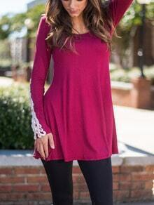 Rose Red Round Neck Lace Embellished Tee Dress