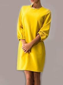 Yellow Round Neck Long Sleeve Slim Dress
