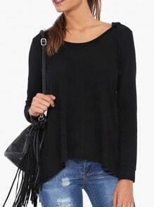 Black Long Sleeve Dip Hem T-Shirt