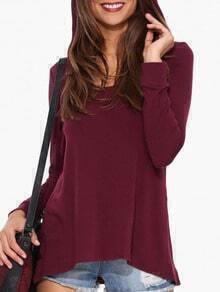 Burgundy Long Sleeve Dip Hem T-Shirt