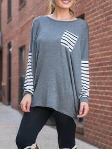 Grey Round Neck Batwing Striped Loose T-Shirt
