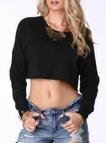 Black Round Neck Long Sleeve Crop T-Shirt