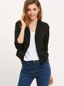 Black Lapel Crop Fitted Blazer