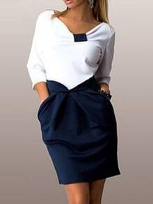 White V Neck Slim Top With Blue Pockets Skirt