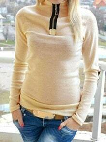 Beige Zipper Elbow Patch Slim Sweatshirt
