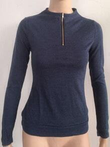 Blue Zipper Elbow Patch Slim Sweatshirt