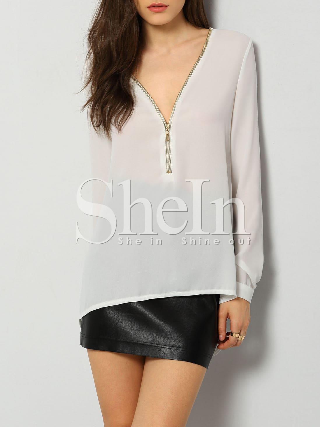 White Long Sleeve V Neck High Low Zipper Blouse blouse151201501
