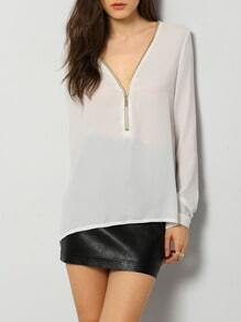 White Long Sleeve V Neck High Low Zipper Blouse