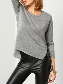 Grey Round Neck Split High Low T-Shirt
