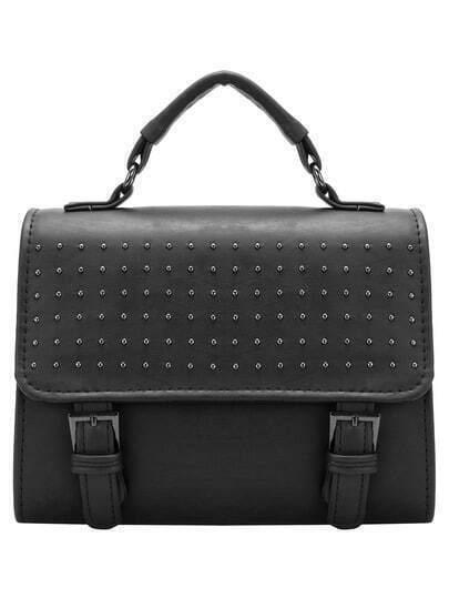 Black Studded Magnetic PU Shoulder Bag