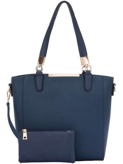 Dark Blue Two Pieces Shoulder Bag