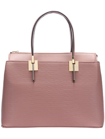 Pink Double Handle Zipper PU Shoulder Bag