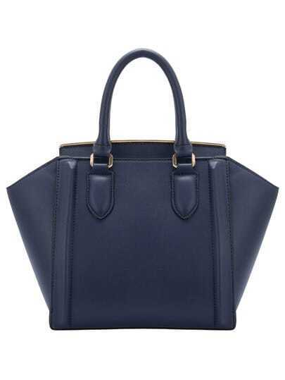 Dark Blue Zipper PU Shoulder Bag