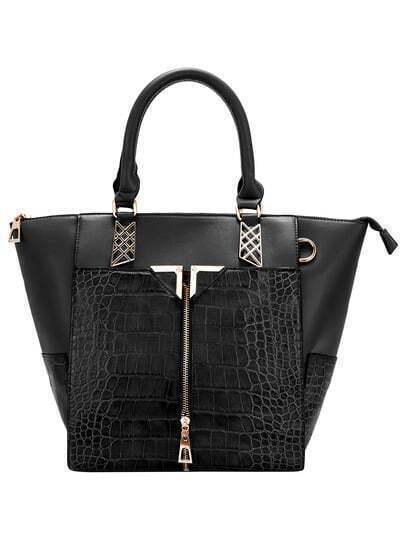 Black Metal Embellished Zipper Crocodile Tote Bag