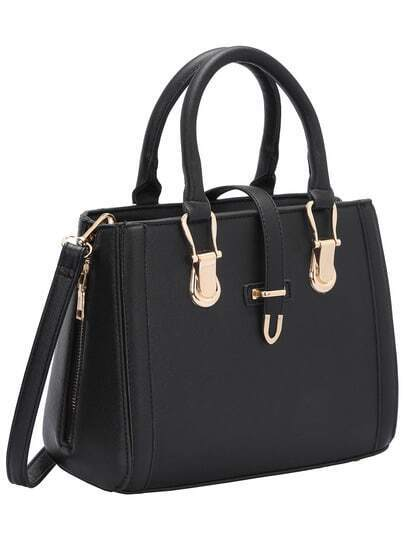 Black Buckle Zipper PU Shoulder Bag